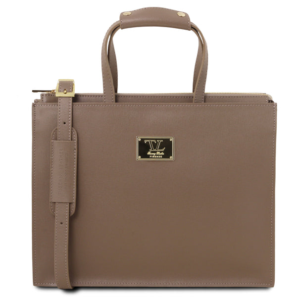 Tuscany Leather 1st Class 'Palermo' Saffiano Leather Briefcase Laptop Briefcase Tuscany Leather Dark Taupe