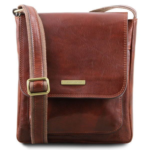 Tuscany Leather 1st Class 'Jimmy' Men's Leather Crossbody Messenger Bag