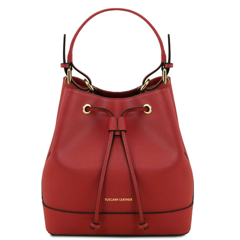 Tuscany Leather 'Minerva' Saffiano Leather Secchiello Handbag Ladies Shoulder Bag Tuscany Leather Red