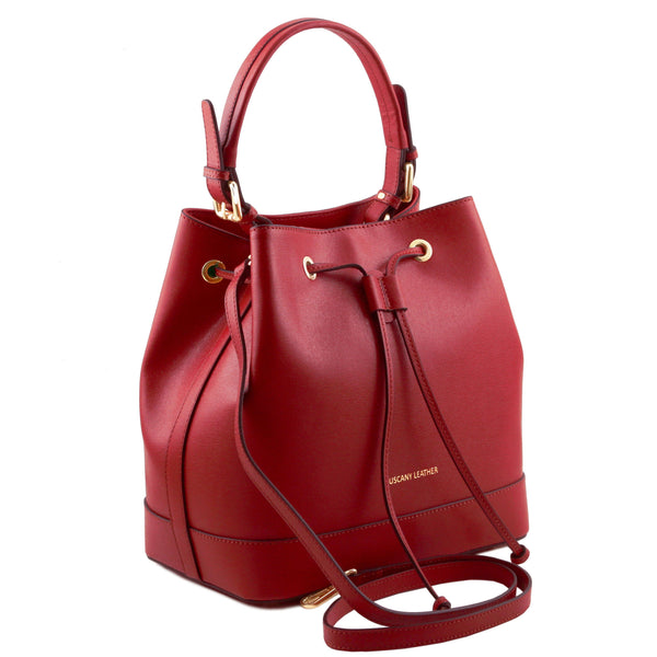 Tuscany Leather Minerva Saffiano Leather Secchiello Handbag
