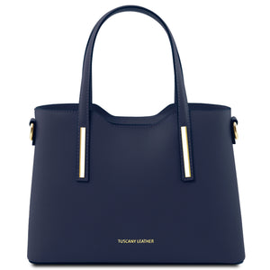 Tuscany Leather Olimpia Leather Shopping Tote Handbag (Small) Handbag Tuscany Leather Dark Blue