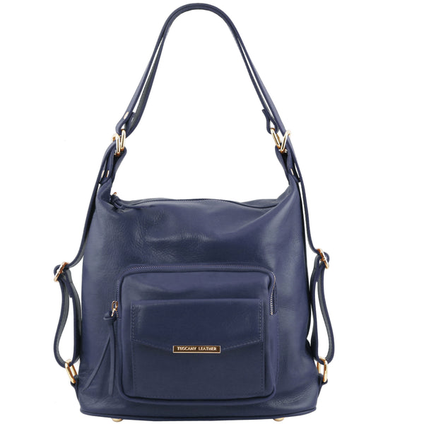 Tuscany Leather 'TL Bag' Convertible Leather Backpack For Women (TL141535) Backpack Tuscany Leather Dark Blue