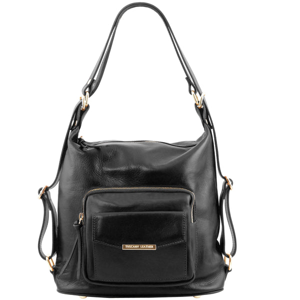 Tuscany Leather 'TL Bag' Convertible Leather Backpack For Women (TL141535) Backpack Tuscany Leather Black