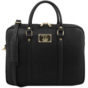 Tuscany Leather 'Prato' Ladies Exclusive Saffiano Leather Laptop Briefcase Laptop Briefcase Tuscany Leather Black