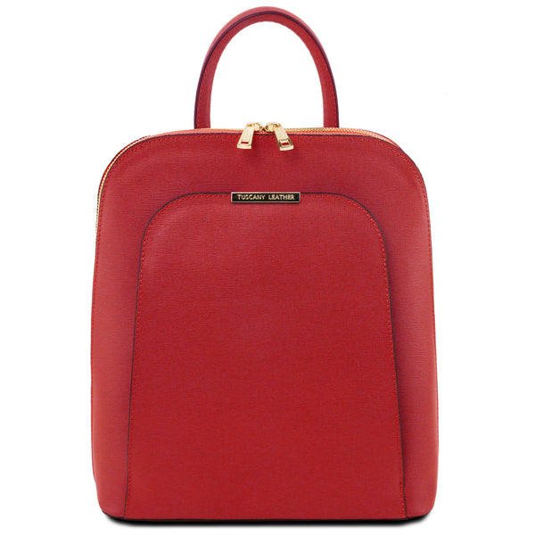 Tuscany Leather 'TL Bag' Saffiano Leather Backpack For Women (TL141631) Backpack Tuscany Leather Red