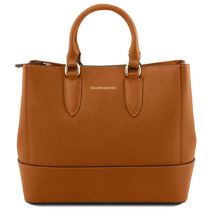 Tuscany Leather 'TLbag' Saffiano Leather Handbag (TL141638) Ladies Shoulder Bag Tuscany Leather Cognac
