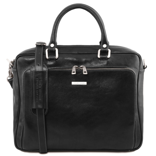 Tuscany Leather 1st Class 'Pisa' Leather Laptop Briefcase Laptop Briefcase Tuscany Leather Black