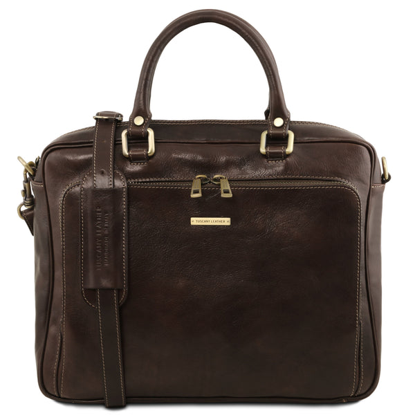Tuscany Leather 1st Class 'Pisa' Leather Laptop Briefcase Laptop Briefcase Tuscany Leather Dark Brown