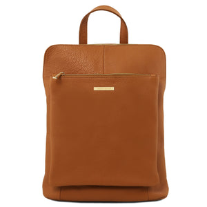 Tuscany Leather 'TL Bag' Soft Leather Backpack For Women (TL141682) Backpack Tuscany Leather Cognac