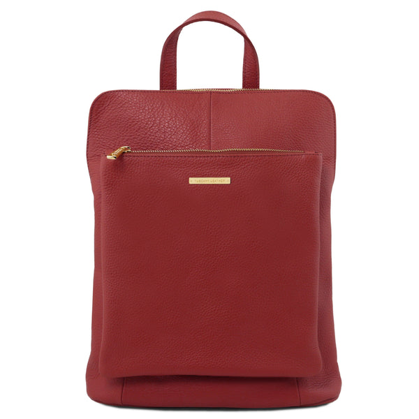 Tuscany Leather 'TL Bag' Soft Leather Backpack For Women (TL141682) Backpack Tuscany Leather Red