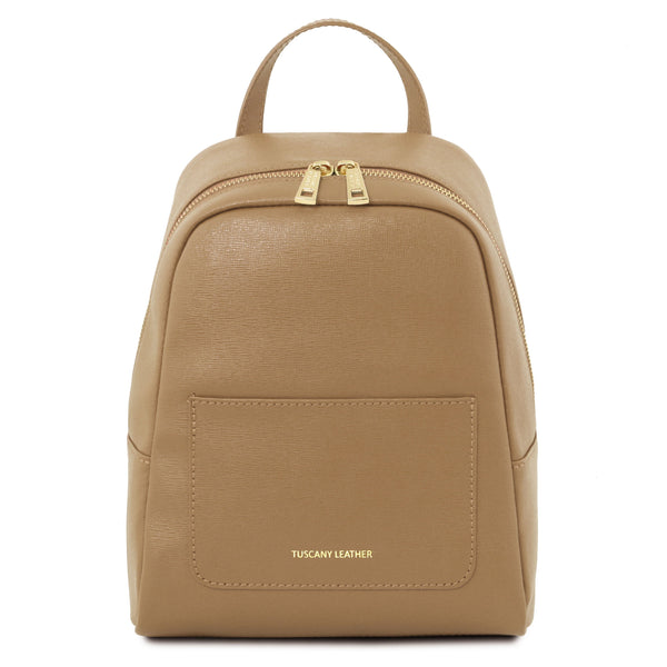 Tuscany Leather 'TL Bag' Small Saffiano Leather Backpack For Women (Small) Backpack Tuscany Leather Caramel
