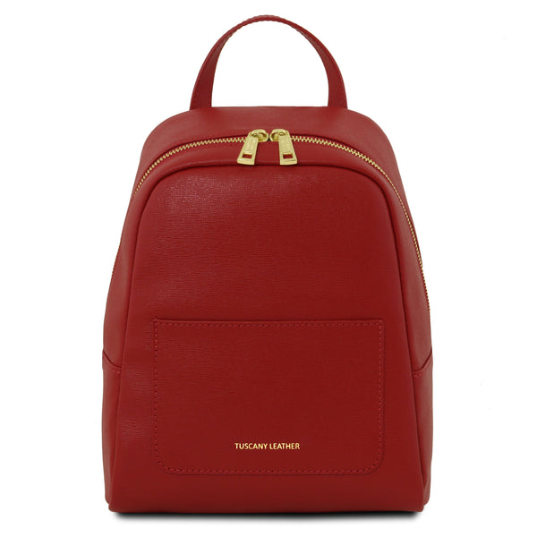 Tuscany Leather 'TL Bag' Small Saffiano Leather Backpack For Women (Small) Backpack Tuscany Leather Red
