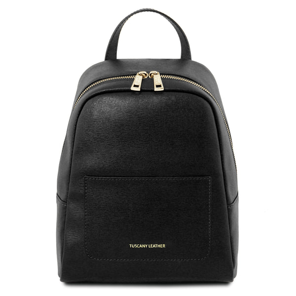 Tuscany Leather 'TL Bag' Small Saffiano Leather Backpack For Women (Small) Backpack Tuscany Leather Black