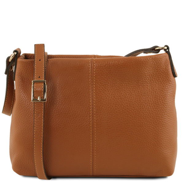 Tuscany Leather 'TL Bag' Ladies Soft Leather Shoulder Bag (TL141720) Ladies Shoulder Bag Tuscany Leather Cognac
