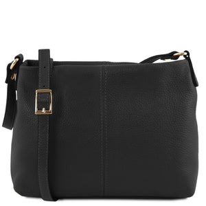 Tuscany Leather 'TL Bag' Ladies Soft Leather Shoulder Bag (TL141720) Ladies Shoulder Bag Tuscany Leather Black