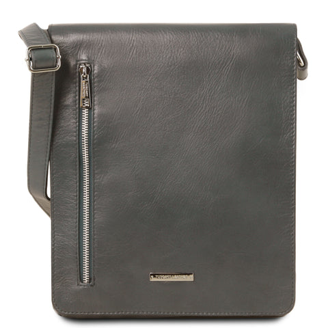 Tuscany Leather 1st Class 'Cesare' Men's Leather Crossbody Bag Crossbody Bag Tuscany Leather Grey