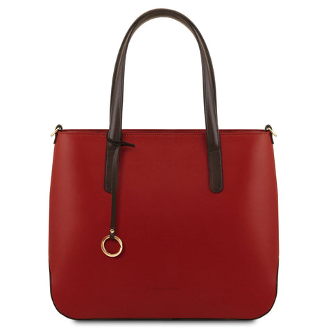 Tuscany Leather 'Penelope' Leather Shoulder Tote Bag Ladies Shoulder Bag Tuscany Leather Red