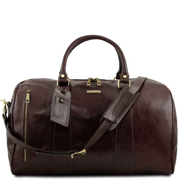 Tuscany Leather 'TL Voyager' Travel Leather Duffle Bag - Large (TL141794) Duffle Bag Tuscany Leather Dark Brown