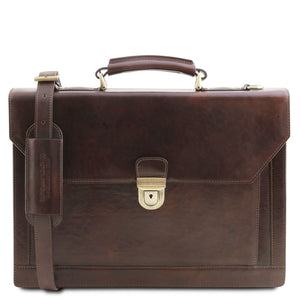Tuscany Leather TL 'Cremona' Leather Briefcase 3 Compartments (TL141732) Laptop Briefcase Tuscany Leather Dark Brown