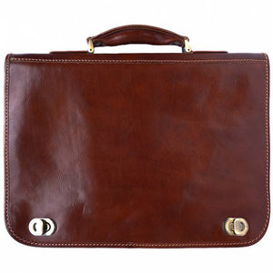 Made In Tuscany Leather Briefcase With Two Compartments Laptop Briefcase Tuscany Leather Brown
