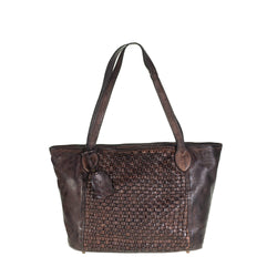 Tuscans Vintage Shopping Bag In Genuine Handwoven Leather Ladies Shoulder Bag Tuscans Dark Brown