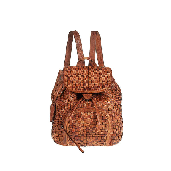 Tuscans 'Handwoven' Women's Vintage Genuine Leather Backpack