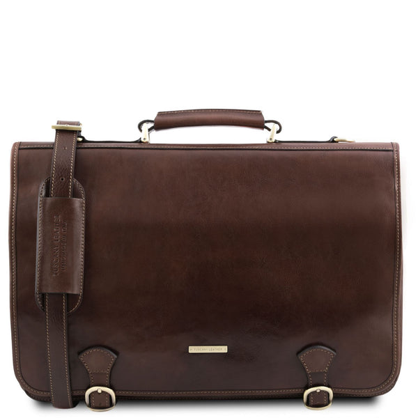 Tuscany Leather TL 'Ancona' Leather Briefcase (TL141853) Briefcase Tuscany Leather Dark Brown