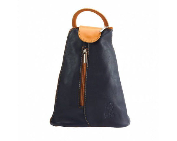 Made In Tuscany Michela Leather Backpack Backpack Made in Tuscany Dark Blue/Tan
