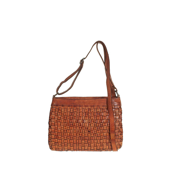 Tuscans Shoulder Bag In Genuine Handwoven Leather Ladies Shoulder Bag Tuscans Brown
