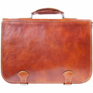Made in Tuscany Leather Briefcase in two compartments with double pockets on the front
