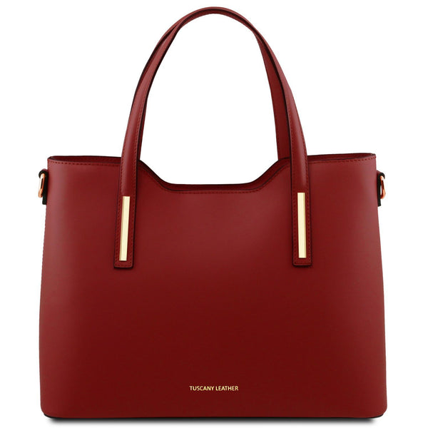 Tuscany Leather 'Olimpia' Leather Shopping Tote Bag (Large) Ladies Shoulder Bag Tuscany Leather Red