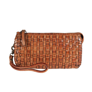 Tuscans 'Clutch' Bag In Genuine Handwoven Leather Handbag Tuscans Light Brown