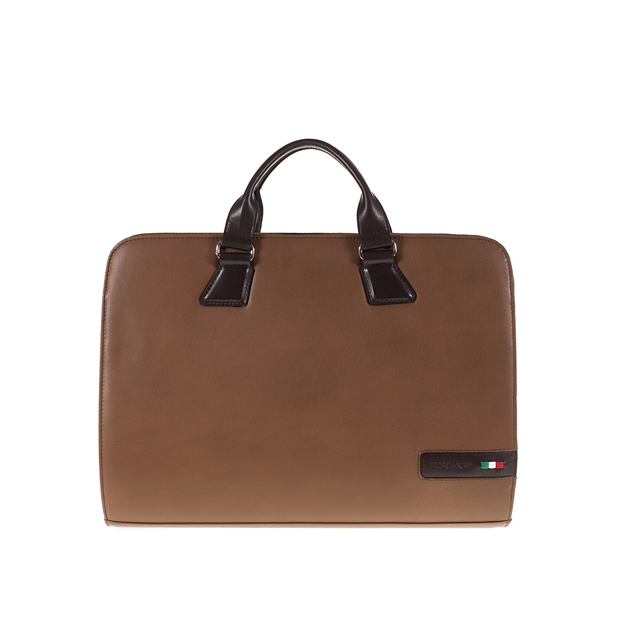 Tuscans 'Spica' Men's Leather Briefcase Briefcase Tuscans Brown/Taupe