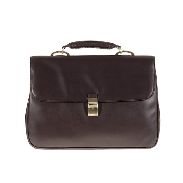 Tuscans 'Euro' Men's Leather Briefcase Briefcase Tuscans Brown