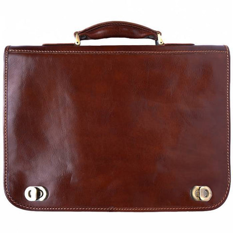 Made in Tuscany Leather Briefcase with two compartments