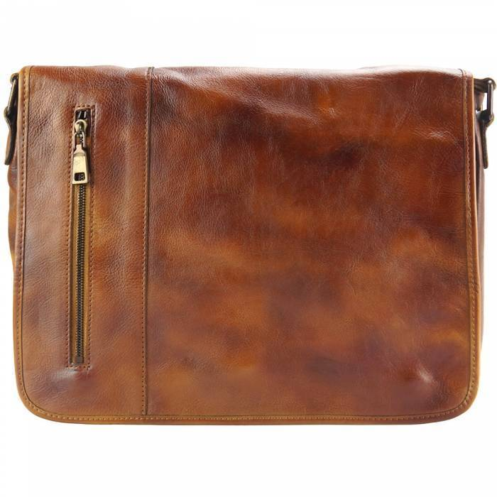 Made In Tuscany 'Grigori' Leather Messenger Bag Messenger Bag Made in Tuscany Tan