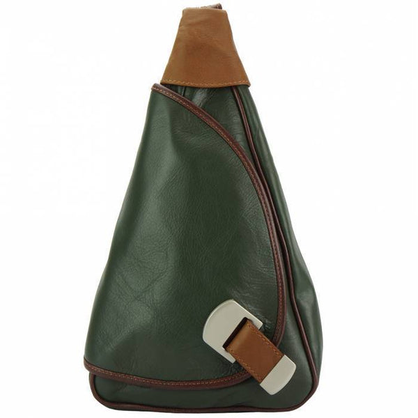 Made In Tuscany 'Dina' Leather Backpack Backpack Made in Tuscany Dark Green/Brown