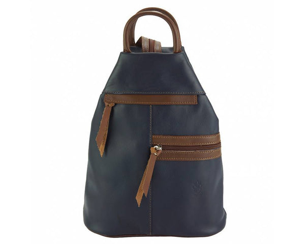 Made In Tuscany 'Sorbonne' Leather Backpack Backpack Made in Tuscany Dark Blue/Brown