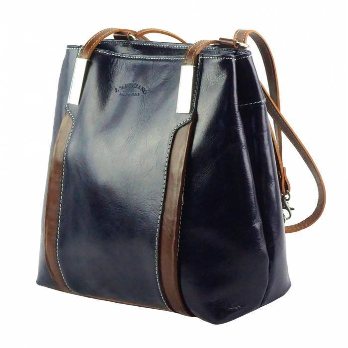 Made In Tuscany 'Lidia' Leather Shoulder Bag Ladies Shoulder Bag Made in Tuscany Dark Blue/Brown