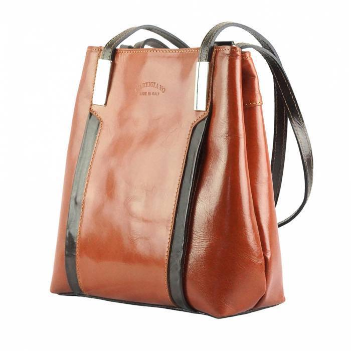 Made In Tuscany 'Lidia' Leather Shoulder Bag Ladies Shoulder Bag Made in Tuscany Tan/Dark Brown