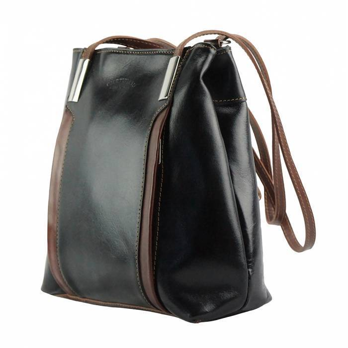 Made In Tuscany 'Lidia' Leather Shoulder Bag Ladies Shoulder Bag Made in Tuscany Black/Brown