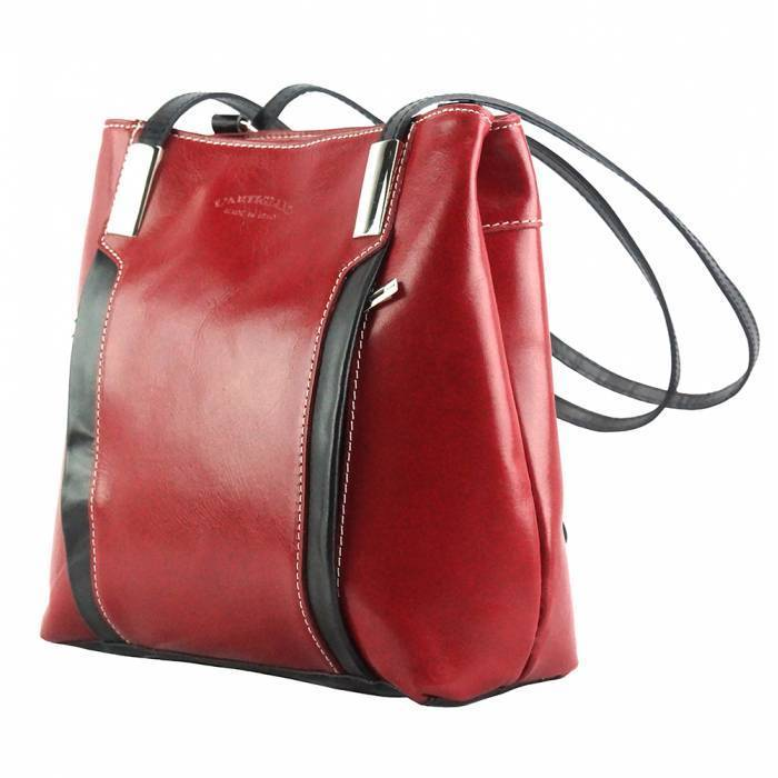 Made In Tuscany 'Lidia' Leather Shoulder Bag Ladies Shoulder Bag Made in Tuscany Red/Black