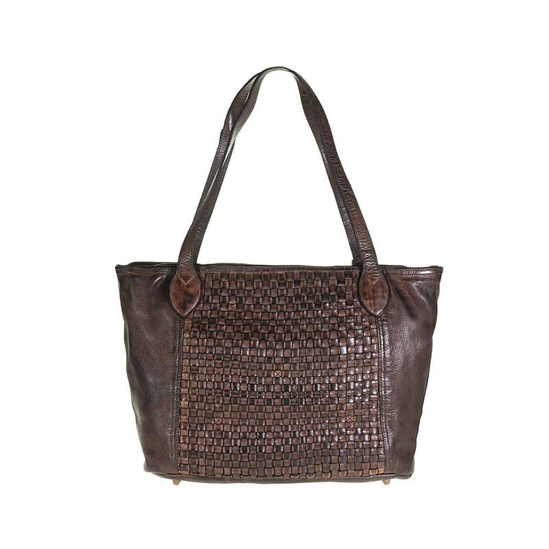 Tuscans Vintage Shopping Bag In Genuine Handwoven Leather Ladies Shoulder Bag Tuscans