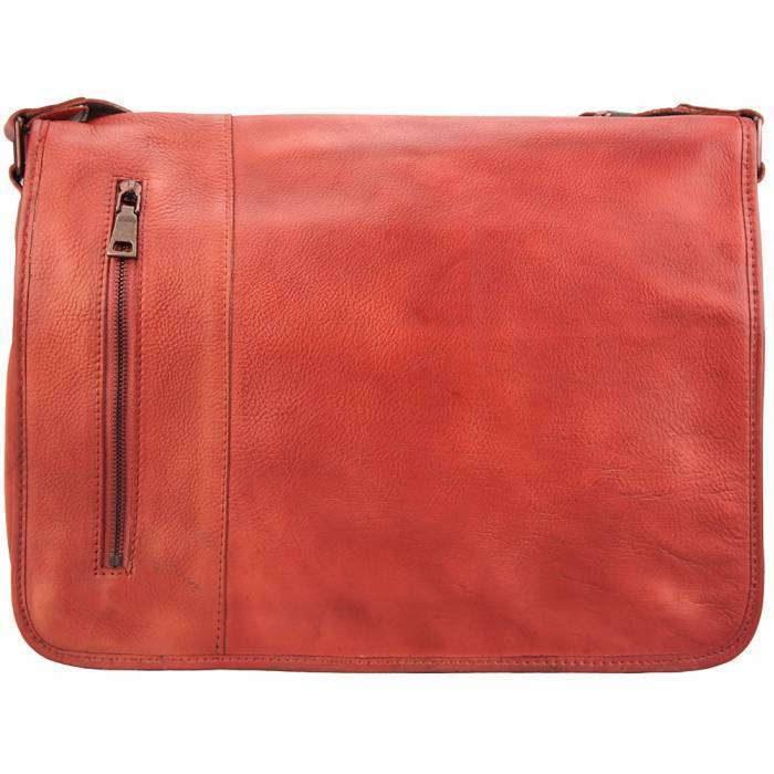 Made In Tuscany 'Grigori' Leather Messenger Bag Messenger Bag Made in Tuscany Light Red