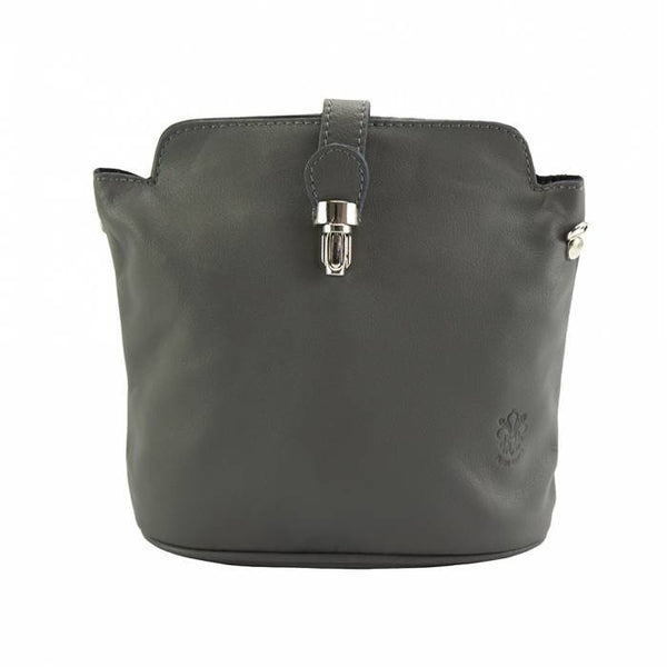 "Made In Tuscany ""Clara"" Leather Cross-Body Shoulder Bag Crossbody Bag Made in Tuscany Dark Grey"