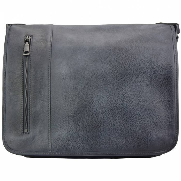 Made In Tuscany 'Grigori' Leather Messenger Bag Messenger Bag Made in Tuscany Black
