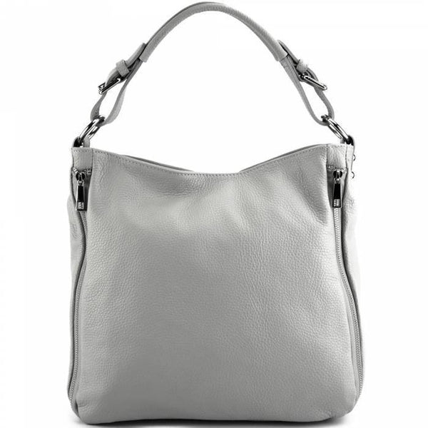 Made In Tuscany 'Artemisa' Leather Hobo Bag Handbag Made in Tuscany Grey