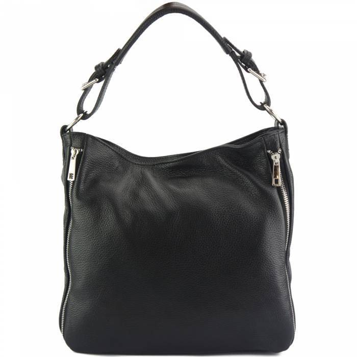 Made In Tuscany 'Artemisa' Leather Hobo Bag Handbag Made in Tuscany Black