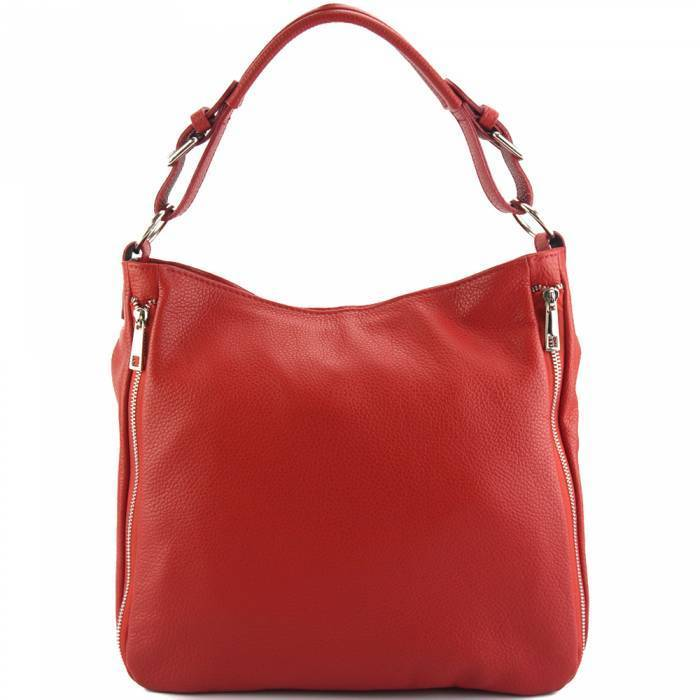 Made In Tuscany 'Artemisa' Leather Hobo Bag Handbag Made in Tuscany Light Red