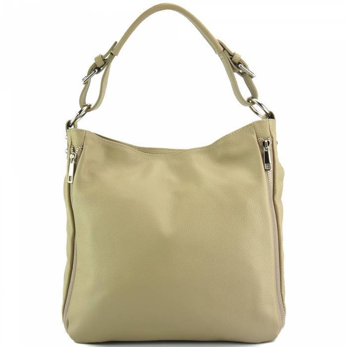 Made In Tuscany 'Artemisa' Leather Hobo Bag Handbag Made in Tuscany Light Taupe